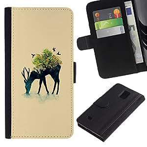 YiPhone /// Tirón de la caja Cartera de cuero con ranuras para tarjetas - Arte pop de los ciervos - Samsung Galaxy Note 4 IV