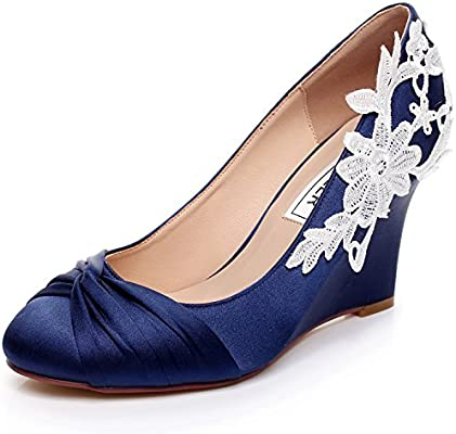 Luxveer Dark Blue Wedding Wedges With Lace Ivory Medium Heels