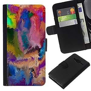 KingStore / Leather Etui en cuir / Samsung Galaxy Core Prime / Agitar el modelo colorido de la pintura Blue Oil