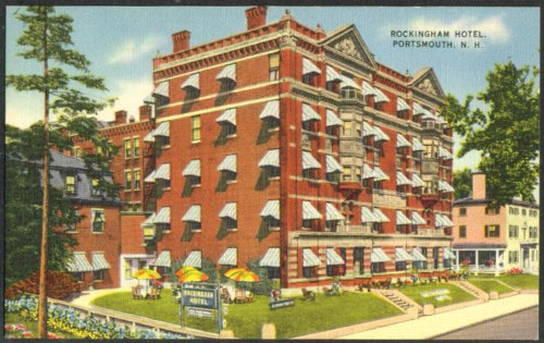 (Rockingham Hotel at Portsmouth NH postcard 1940s)