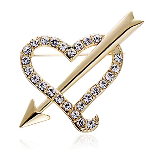 RUXIANG a Arrow Pierced Irregular Crystal Heart Pin Brooch Clothes Jewelry (gold) ()