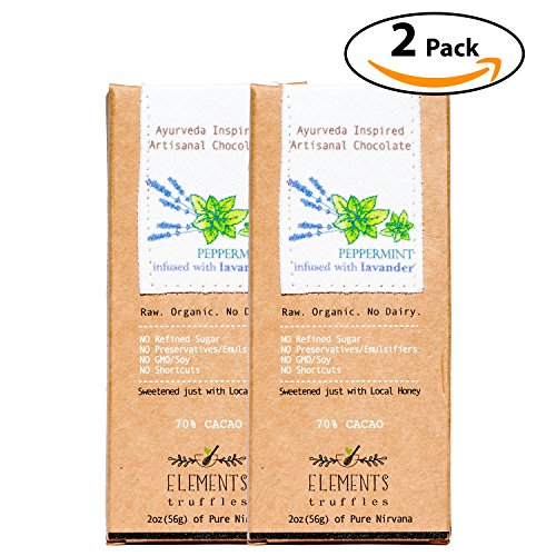 Elements Truffles Peppermint Bar with Lavender Infusion - Dairy Free Chocolate Bar - Gluten Free, Non-GMO, Raw & Organic Chocolate Bar - Ayurveda Inspired Healthy Chocolate Bar - Two Pack