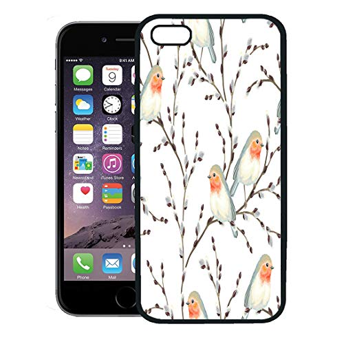 Semtomn Phone Case for iPhone 8 Plus case,Beige Botanical of Willow Branches and Birds Robin on Blue Branch Rustic iPhone 7 Plus case Cover,Black