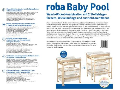 Roba Fasciatoio con Vaschetta 'baby Pool', Piano Fasciaotio Scorrevole con Vaschetta, Legno Naturale, Materassino… 3