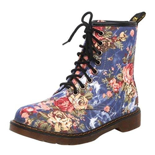 Victorcn Women Shoes, Women Ladies Female Suede Biker Ankle Trim Flat Ankle Warm Martin Boots (37, Blue) (Suede Scrunch Boot)
