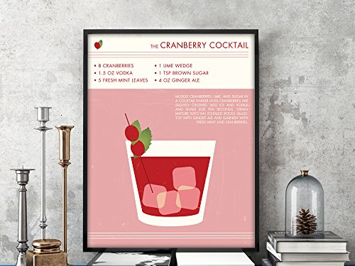 CRANBERRY COCKTAIL Art Print, Retro Drink Poster, Vintage Style Graphic Art, Mid Century Modern Design Poster, Cranberry Cocktail, VODKA art