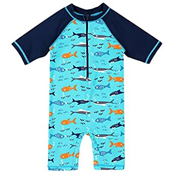 BAOHULU Boys One-Piece UPF 50+ UV Surfing Swimming Bathing Swimwear (3-4Y(Tag No.92/98), Navy)