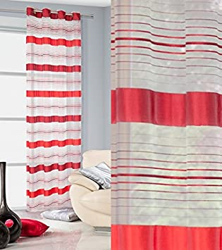 Vorhang Ösenvorhang 140x250 Cm Gestreift Nadia Rot Wohnzimmer Küche Streifen  Lichtundurchlässigkeit: Ungf. 30%