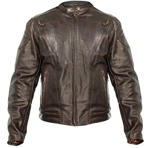 - Xelement B7203 Men's 'Speedster' Retro Brown Premium Leather Motorcycle Jacket with Zip Out Lining - Large