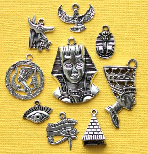 Jewelry Making Egypt Charm Collection Antique Silver Tone 9 Charms - COL289 Perfect for Pendants, Earrings, Zipper pulls, Bookmarks and Key Chains