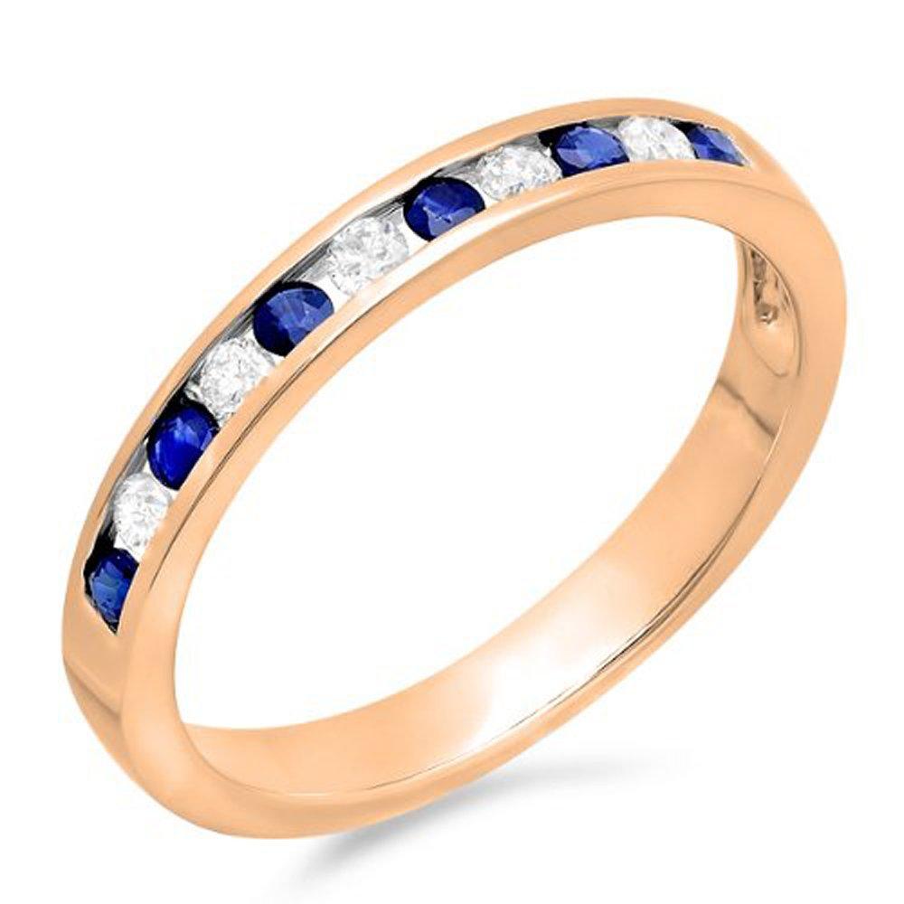 10K Gold Round White Diamond & Blue Sapphire Ladies Anniversary Wedding Stackable Ring Band 1/2 CT Dazzlingrock K1630-P