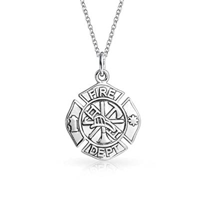 8cd6bf95f7d56 Image Unavailable. Image not available for. Color  Personalized Firefighter  Fire Dept Shield Medallion Cross Round Pendant or Sterling Silver ...