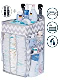 Diaper Caddy Organizer, Nursery Organizer: Best Hanging Diaper Caddy for Baby Crib, playard, Changing Table, car, Wall. Large Storage. Pink Grey Gray Chevron. Perfect for boy or Girl