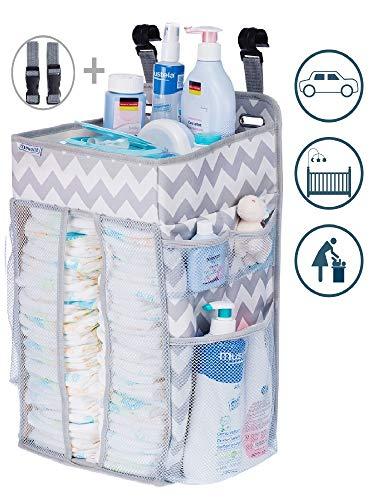 Diaper Caddy Organizer, Nursery Organizer: Best Hanging Diaper Caddy for Baby Crib, playard, Changing Table, car, Wall. Large Storage. Pink Grey Gray Chevron. Perfect for boy or Girl from Lynworth