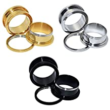 """D&M Jewelry 6pcs Stainless Steel Golden Siliver Black Screw Fresh Flared Tunnels Plugs Expander Ear Piercing Jewelry 12g-3/4"""""""