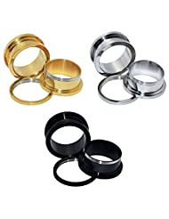 D&M Jewelry 6pcs Stainless Steel Golden Siliver Black Screw Fresh Flared Tunnels Plugs Expander Ear Piercing Jewelry 12g-3/4""