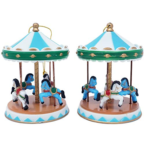 Circus Carousel Cake Topper - Blue (2 Count)