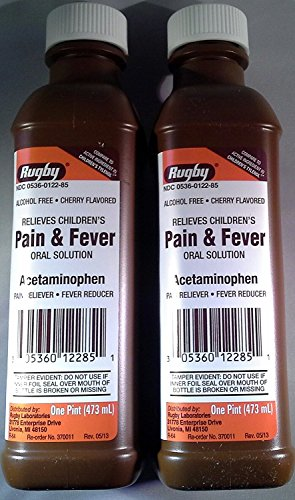 Rugby Children's Pain and Fever Relief Acetaminophen Non-aspirin 160mg/5ml 1 Pint (473ml) Alcohol Free Cherry Flavored (Pack of 2 Bottles) (Aspirin Cherry)
