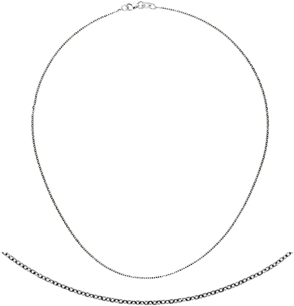 18K White Gold 1.3mm Cable Chain