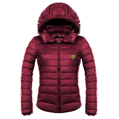 Puffer Hooded Girl Wine LOCOMO Coat Insulated FFJ060BLUL Hood Red Jacket Women Down 8xg1gq