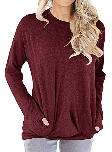 (GSVIBK Women Casual Long Sleeve Round Neck Shirts Pullover Loose Blouse Tunic Tops Pockets Wine Red)
