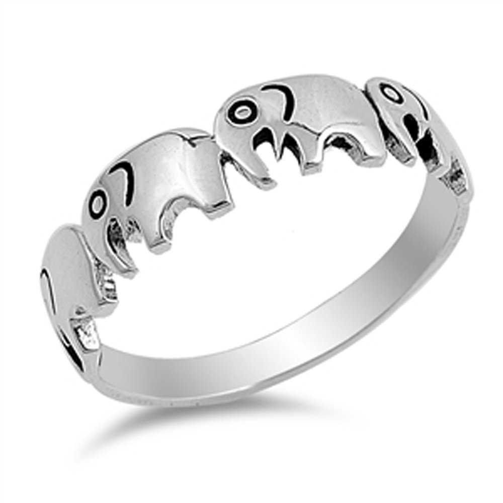 Jinique VE-01266 Sterling Silver Elephants Ring Animal Ring