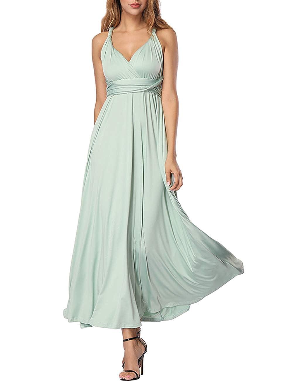 TALLA XL(ES 46-50). FeelinGirl Mujer Vestido de Noche Longitud Máxima Falda Fiesta Cóctel Tirantes Convertibles Multi-Manera Verde XL(ES 46-50)