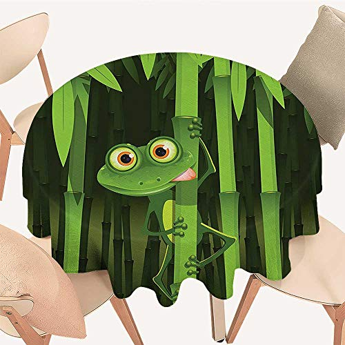 Cloth Funny Illustration of Friendly Fun Frog on Stem of The Bamboo Jungle Trees Perfect for Indoor, Outdoor, 47 INCH Round ()