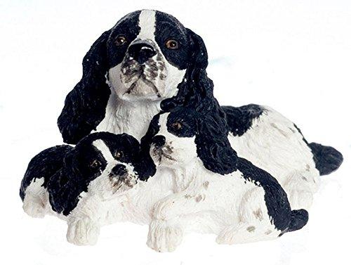 Dollhouse Miniature Black & White English Springer Spaniel w/Pups - Black & White Springer