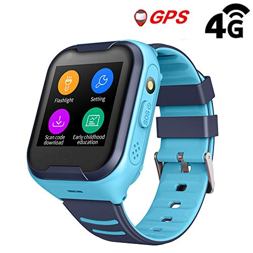 Kids Waterproof GPS Smart Watch, Laxcido 4G Children Video Phone Call Real-time Tracking Camera SOS Alarm Geo-Fence Touch Screen Monitoring Health Steps Flashlight Anti-Lost GPS Tracker Watch (Blue)