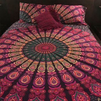 Indian Duvet Quilt Cover Coverlet Bohemian Doona Cover Handmade Exclusive Range of Reversible Queen Size Duvet Cover Set with Pillow Covers