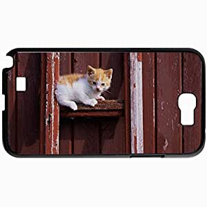 Personalized Protective Hardshell Back Hardcover For Samsung Note 2, Cat Cat Kitten Red White Design In Black Case Color