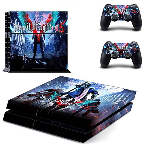 Price comparison product image Playstation 4 Skin Set - Devil May Cry 5 HD Printing Vinyl Skin Cover Protective for PS4 Console and 2 PS4 Controller by Mr Wonderful Skin