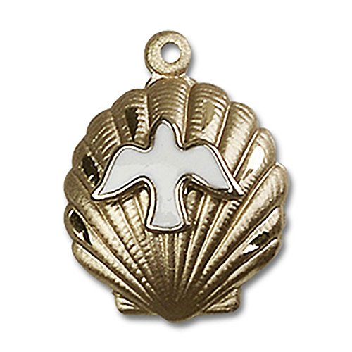 14kt Yellow Gold Shell / Holy Spirit Medal 3/4 x 5/8 inches by Unknown