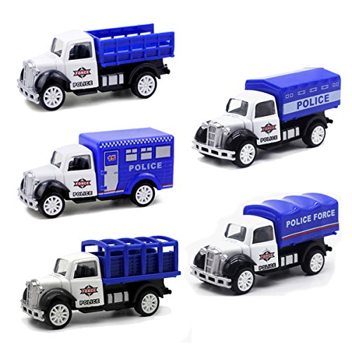 MinYn Mini Metal Police Vehicle Truck Pullback Cop Car 1:55 Die-Cast Police Simulation Model Toy Car Set for Kids Boys Girls (5 - Set Car Diecast 55