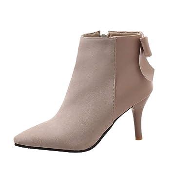 LuckyGirls Botas con Tacón de Aguja de Mujer Bowknot Moda Botine Botina Zapatillas Casuales Calzado Zapatos con Cremallera 8cm: Amazon.es: Deportes y aire ...