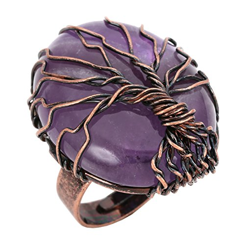 - CrystalTears Vintage Bronze Family Tree of Life Ring Birthstone Amethyst Crystal Wire Wrap Oval Gemstone Healing Ring Gift for Women Jewelry, Adjustable