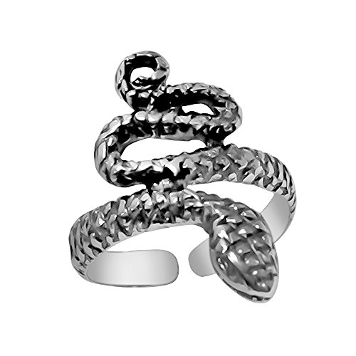 - 925 Designs Sterling Silver Snake Toe Ring - Oxidized