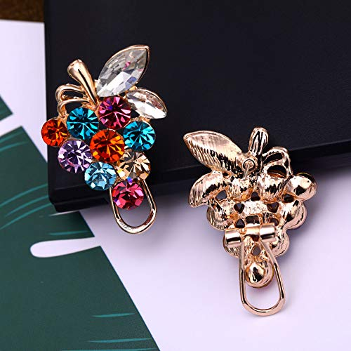 Ramyes Women Girls Earring,Grape Shape Ear Clip,Rhinestone Elegant Earring Accessories Charming Jewelry for Lady