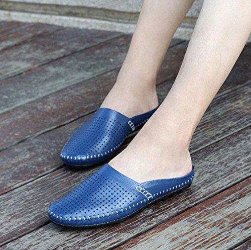 YiLianDa Herren Mokassins Bequeme Slipper Lederoptik Freizeit Schuhe Blau