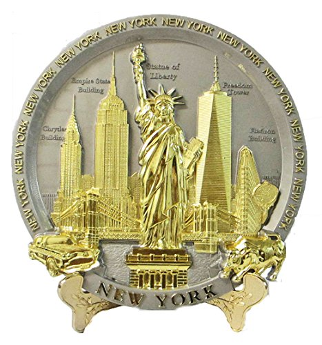 Wall Souvenir Plate (New York Souvenir Metal Embossed Plate with Statue of Liberty Empire State Building Freedom Tower NYC Skyline 7 Inch Diameter)
