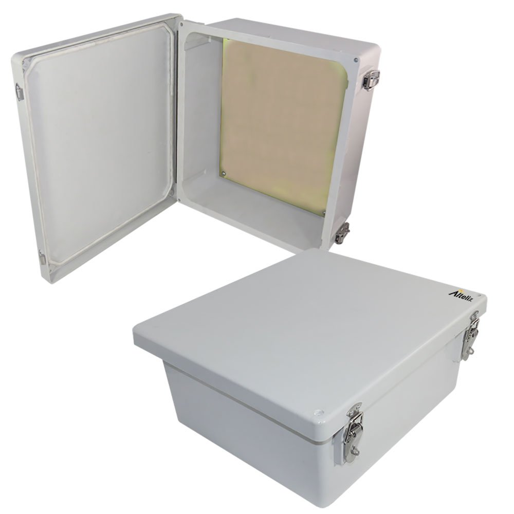 Altelix 14x12x6 NEMA 4x FRP Fiberglass Weatherproof Enclosure with Aluminum Equipment Mounting Plate, Hinged Lid & Stainless Steel Latches by Altelix (Image #1)