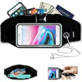 Running Sports Belt, Waist Pack, Workout Fitness Fanny Gear for apple iPhone X, 8, 7, 6 Plus, SE, Samsung S8+ with Case (OtterBox Commuter & LifeProof, or others). Chest Pouch for Women & Men[Black]