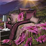 wiwanshop 4pcs Suit Polyester Fiber 3D Purple Chrysanthemum Flower Reactive Dyeing Bedding