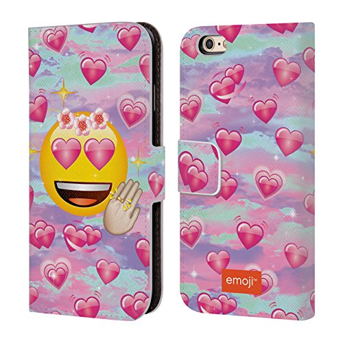 Officiel Emoji Amoureux Smileys Étui Coque De Livre En Cuir Pour Apple iPhone 6 / 6s