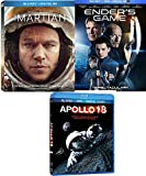 Sci-Fi Triple Martian Pack Enders Game Blu Ray & DVD + Apollo 18 Movie Bundle