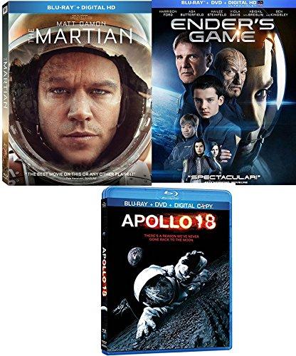 Sci-Fi Triple Martian Pack Enders Game Blu Ray & DVD + Apollo 18 Movie Bundle