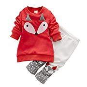 EFINNY Baby Girl's Cartoon Fox Sweatshirt Thick Velvet Pant Suits Clothing Set (1 year/Size 80)