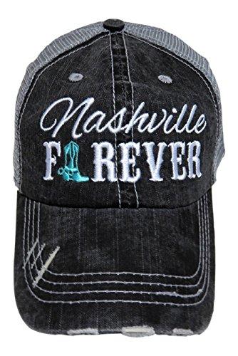 (Embroidered Nashville Forever Grey Vintage Baseball Trucker Cap Hat Western (Mint Cowboy Boot))