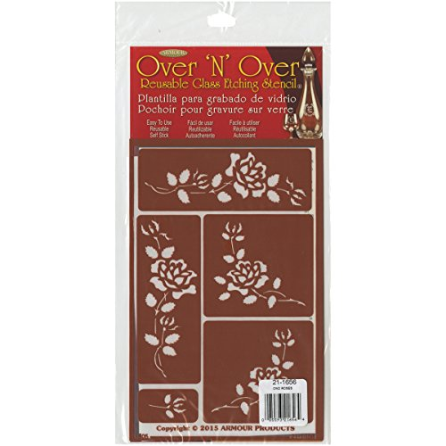 Armour Products Over N Over Glass Etching Stencil, 5-Inch by 8-Inch, (Metal Etching Stencils)